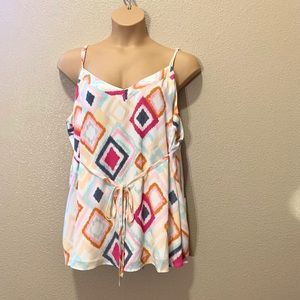 Torrid Tie Waist Bright Plus Size Tank Top Lined
